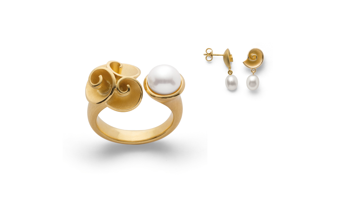 Ring und Ohrschmuck mit Perle